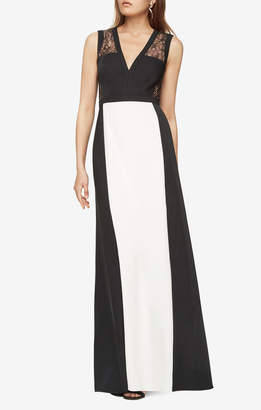BCBGMAXAZRIA Oudette Colorblocked Gown