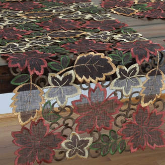 Xia Home Fashions Dainty Leaf Embroidered Cutwork Harvest Table Runner