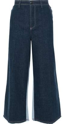 d072ebc398 Sonia Rykiel Cropped Two-tone Mid-rise Wide-leg Jeans