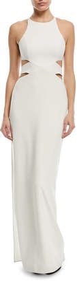 Halston Column Cutout Self-Tie Gown