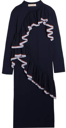 Marni - Ruffled Knitted Midi Dress - Navy