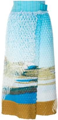 Issey Miyake printed wrap skirt
