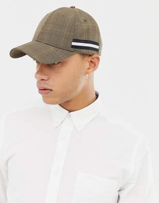 Asos DESIGN baseball cap in brown check with taping detail