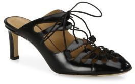 Dixie Leather Lace-Up Mules