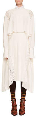 Chloé Mock-Neck Long-Sleeve Tiered Button-Back Long Dress w/ Lace Panels
