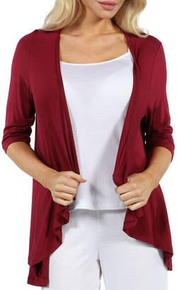 24/7 Comfort Apparel Women's 3/4-sleeve Open Cardigan