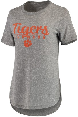 Unbranded Women's Pressbox Heathered Gray Clemson Tigers Cherie Rounded-Bottom Tri-Blend T-Shirt