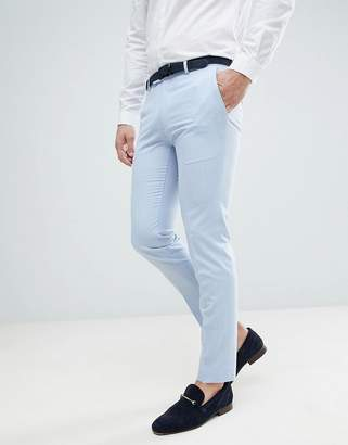 Moss Bros Wedding Skinny Suit Pants In Light Blue