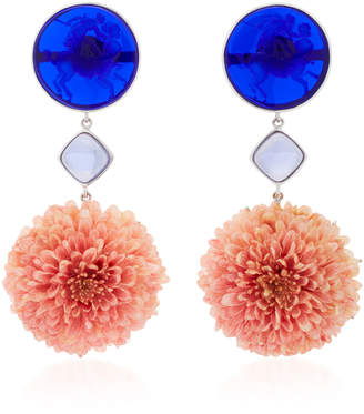 Bahina 18K White Gold Dark Blue Venetian Glass Cameos Earrings