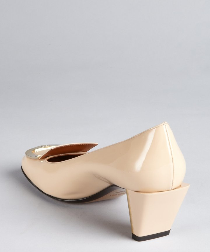 Fendi Light Cappucino Patent Leather Gold Buckle Tipped Pumps