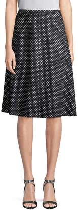 St. John Women's Polka-Dot Flare Skirt