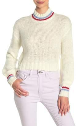 Planet Gold Mock Neck Crop Sweater