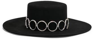 Saint Laurent Circle Belt Hat in Black & Silver | FWRD