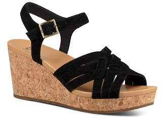 UGG Women's Uma Suede Platform Wedge Sandals