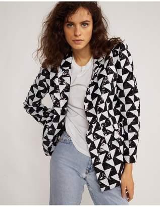Cynthia Rowley Illusion Geometric Sequin Blazer