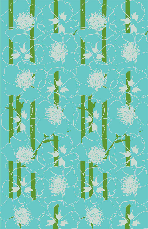 SUM Underwater Bamboo Wallpaper in Blue