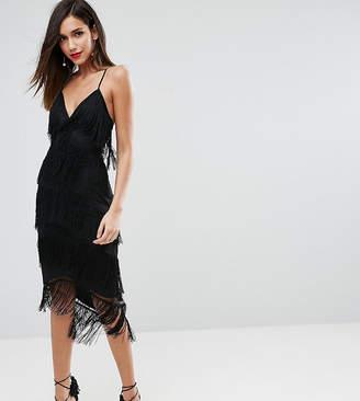 Asos DESIGN fringe mesh strappy midi bodycon dress