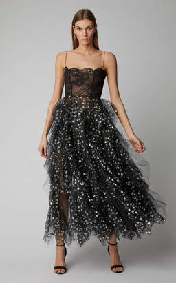 Oscar de la Renta Sleeveless Gown With Tiered Metallic Embellished Tulle