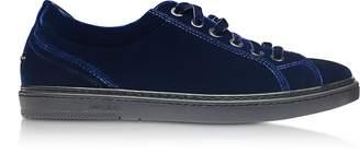 Jimmy Choo Cash Navy Blue Velvet Low Top Sneakers w/Studded Stars