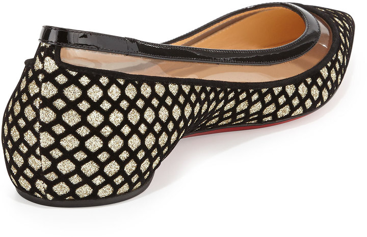 Christian Louboutin Paulina Glittered Red-Sole Flat