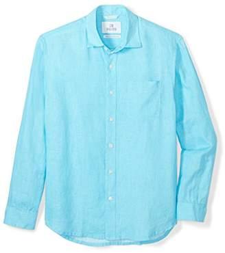 28 Palms Men's Relaxed-Fit Long-Sleeve 100% Linen Shirt