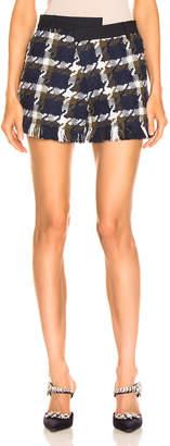 Monse Tweed Asymmetrical Waist Short in Navy, Olive & Ivory | FWRD