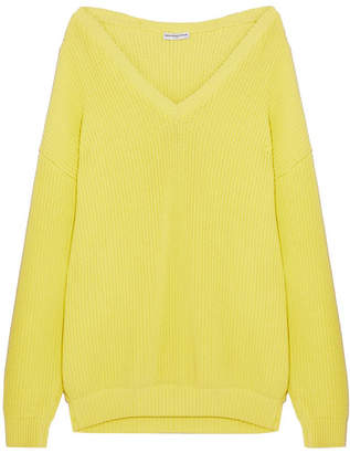 Balenciaga Oversized Ribbed Cotton-blend Sweater - Yellow