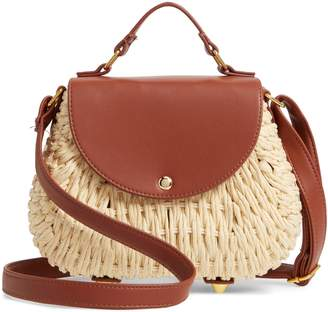 La Double 7 Faux Leather Trim Straw Saddle Bag