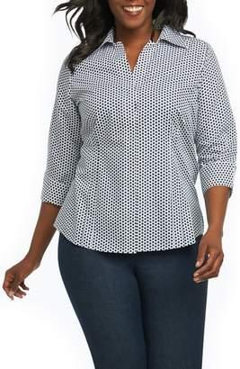 Foxcroft Taylor Optic Dot Non Iron Cotton Shirt