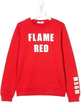 MSGM Kids TEEN slogan print sweatshirt