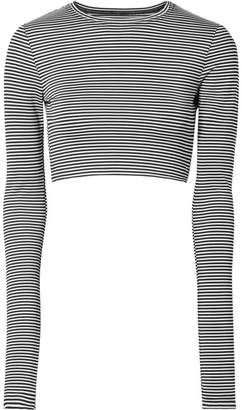 Marc Jacobs Cropped Striped Stretch-jersey Top - Black