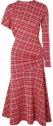 Calvin Klein Asymmetric Prince Of Wales Checked Cady Midi Dress - Brick