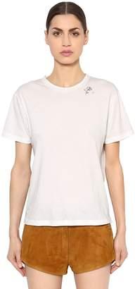 Saint Laurent Rose Detail Print Cotton Jersey T-Shirt