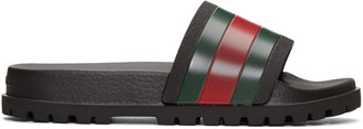Gucci Tricolor Pursuit Trek Stripes Sandals $190 thestylecure.com