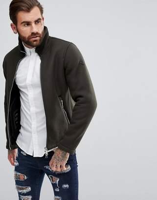 Armani Jeans Wool Mix Zip Through Jacket Green