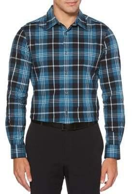 Perry Ellis Regular-Fit Multicoloured Plaid Button-Down Shirt