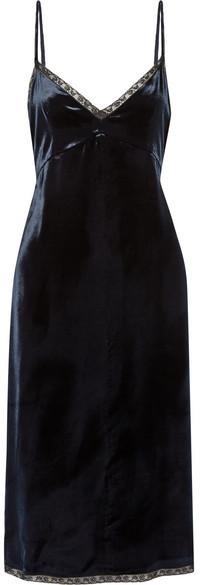 Prada - Lace-trimmed Velvet Dress - Navy