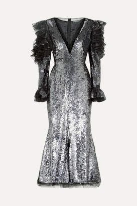 Alexander McQueen Ruffled Sequined Tulle Midi Dress - Silver