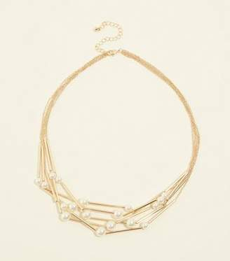 New Look Gold Faux Pearl and Angular Necklace