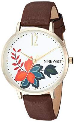 Nine West Women's NW/2208SVBN Gold-Tone and Brown Strap Watch
