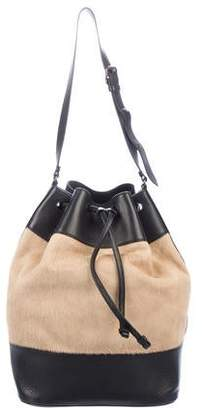 Tomas Maier Leather-Trimmed Ponyhair Bucket Bag