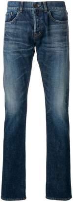 Saint Laurent distressed mid-rise straight jeans