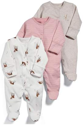 Mamas and Papas Baby Girls 3 Pack Deer Sleepsuits