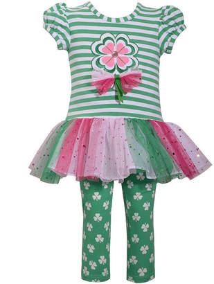 Bonnie Jean Clover Tu Tu Stripe Leg 2-pc. Pant Set Baby Girls