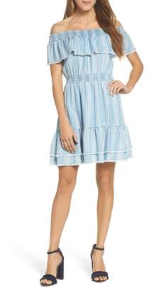 BB Dakota Coco Stripe Off the Shoulder Ruffle Dress