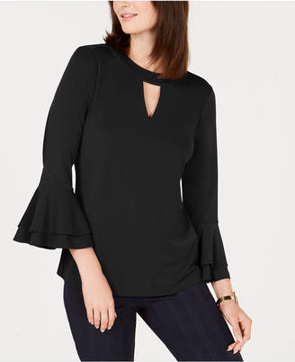 Charter Club Bell-Sleeve Keyhole Top