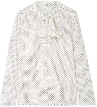 Max Mara Polka-dot Silk Crepe De Chine And Stretch-jersey Blouse - White