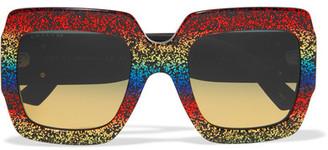 Square-frame Glittered Acetate Sunglasses - Gold
