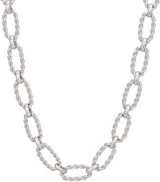"Judith Ripka Verona 18"" Sterling Oval Texture Link Necklace 43.7G"