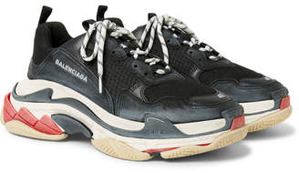 Balenciaga Triple S Mesh, Nubuck and Leather Sneakers - Black